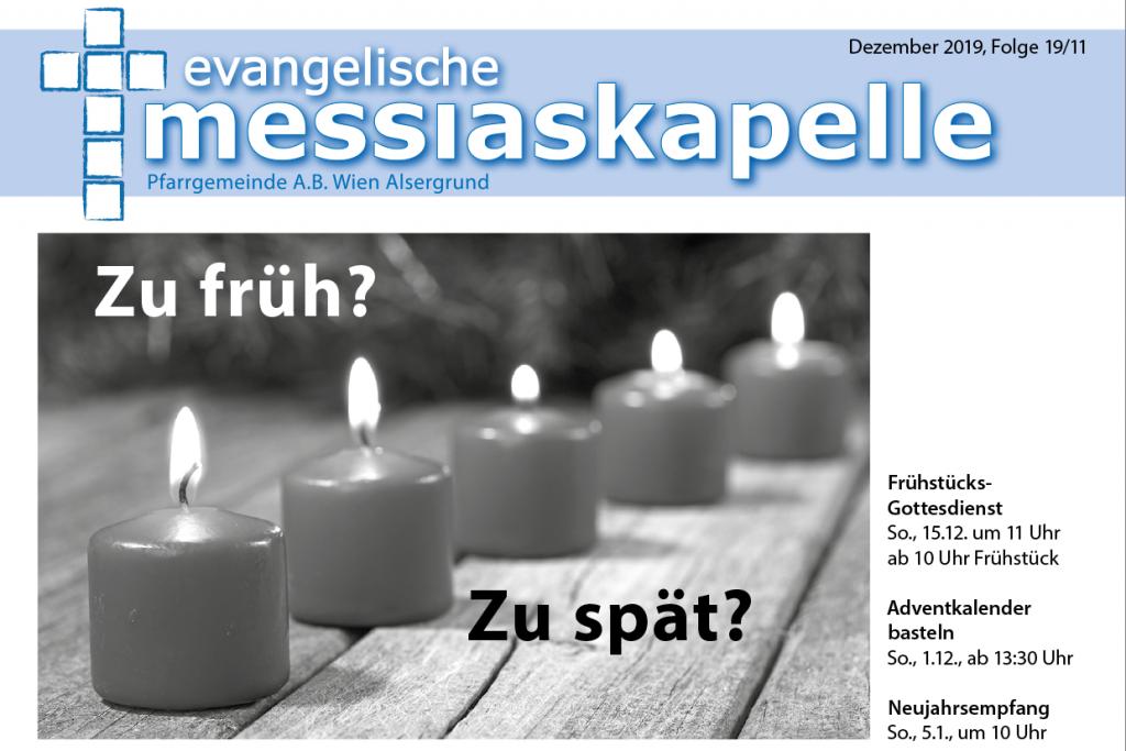 Titelblatt der Gemeindezeitung Dezember 2019